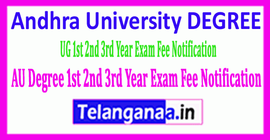 AU Degree Andhra University UG 1st 2nd 3rd Year Exam Fee Notification
