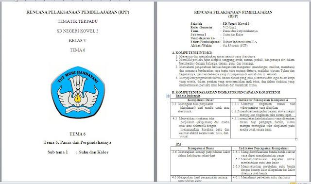 RPP SD Kelas 5 Kurikulum 2013 Revisi 2018 Semester 1 dan 2
