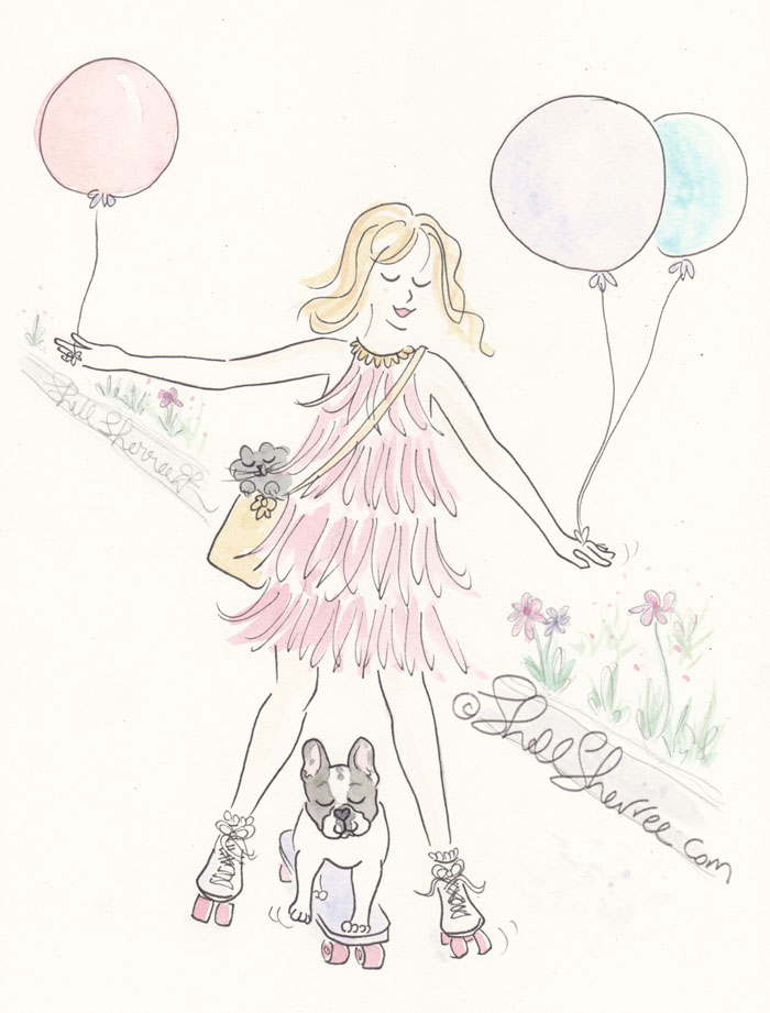 Fashion & Fluffballs illustration, Let the Fluffy Times Roll © Shell-Sherree