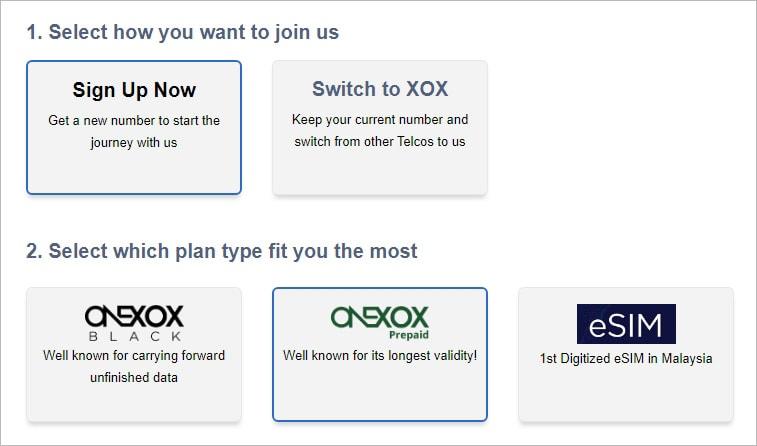 Daftar online ONEXOX Plan