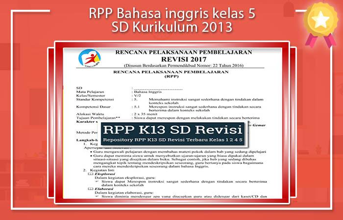 RPP Bahasa inggris kelas 5 SD Kurikulum 2013
