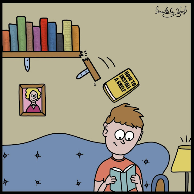 A funny comic about a broken shelf and a book called how to install a shelf falling on a person on the couch by derrick g wood