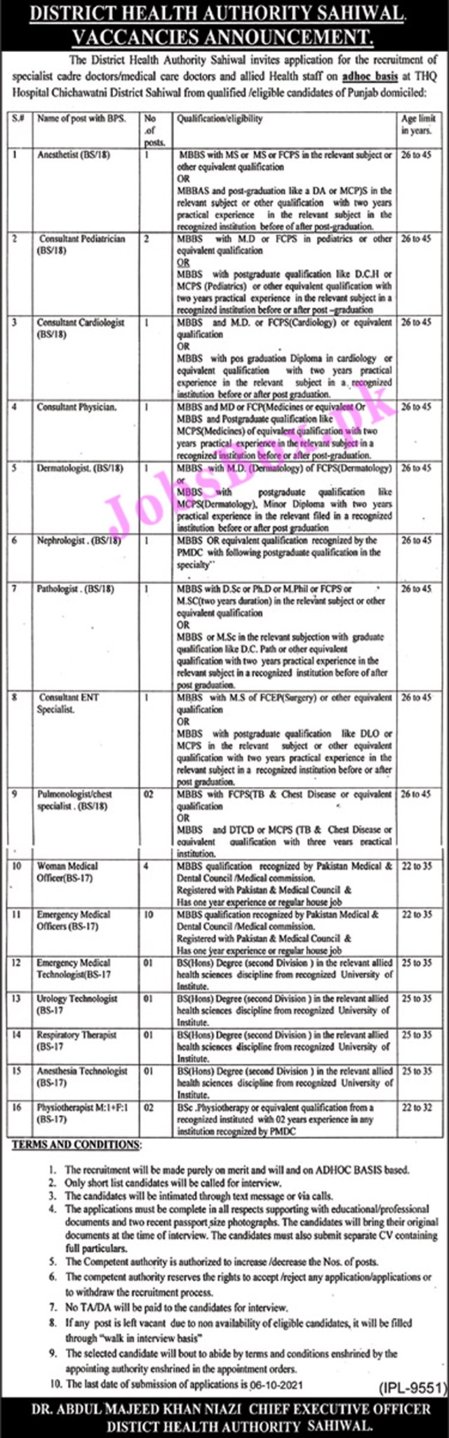 District Health Authority Sahiwal Jobs 2021 in Pakistan