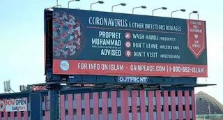 Reklame Memuat Tiga Pesan Rasulullah Terpasang di Chicago terkait covid-19