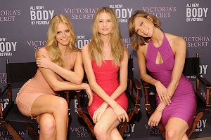 Karlie Kloss, Erin Heatherton and Behati Prinsloo at a meeting with fans