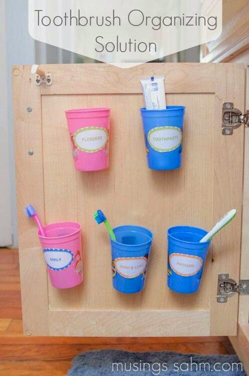 Bathroom storage. Toothbrush storage ideas