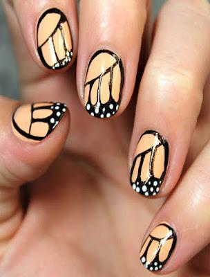 decoracion de uñas mariposa monarca fácil