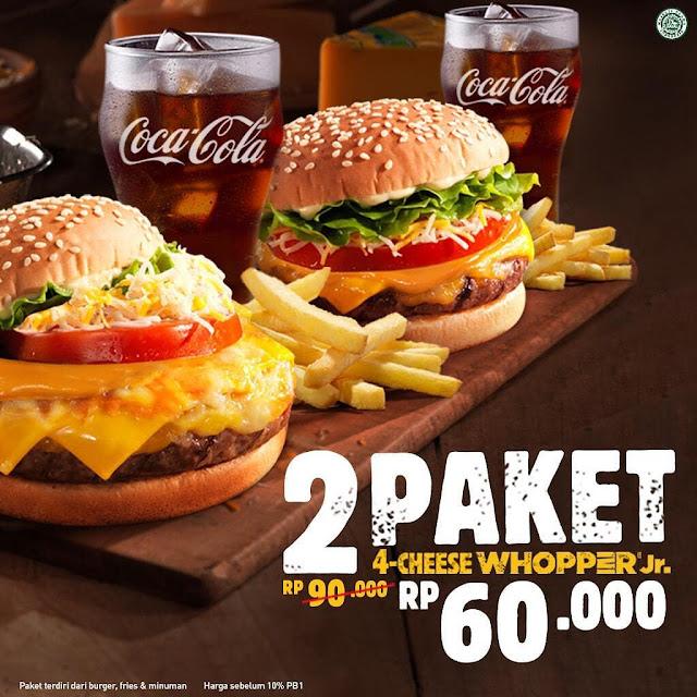 #BurgerKing - #Promo 2 Paket 4 Cheese Whooper Jr Hanya 60K (s.d 30 Juni 2019)