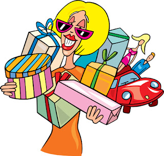 Clipart image of a woman shopping for Christmas