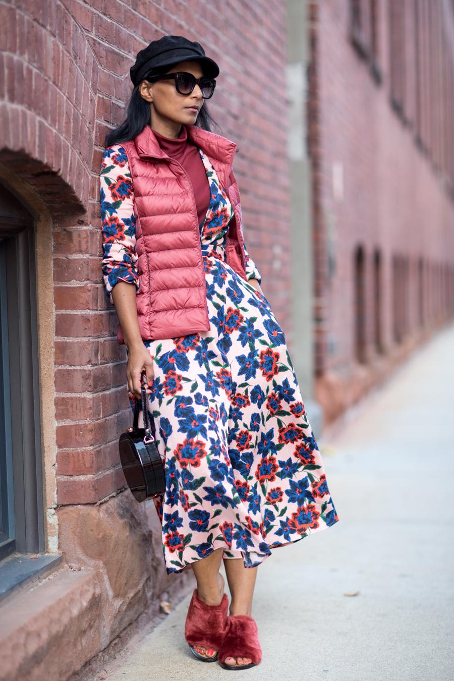 florals, fall fashion, down vest, fall layers, art of layering, faux fux, mules, circle bag, zara, uniqlo, fall style trends, petite fashion, boston style, petite blogger, feminine style, european style