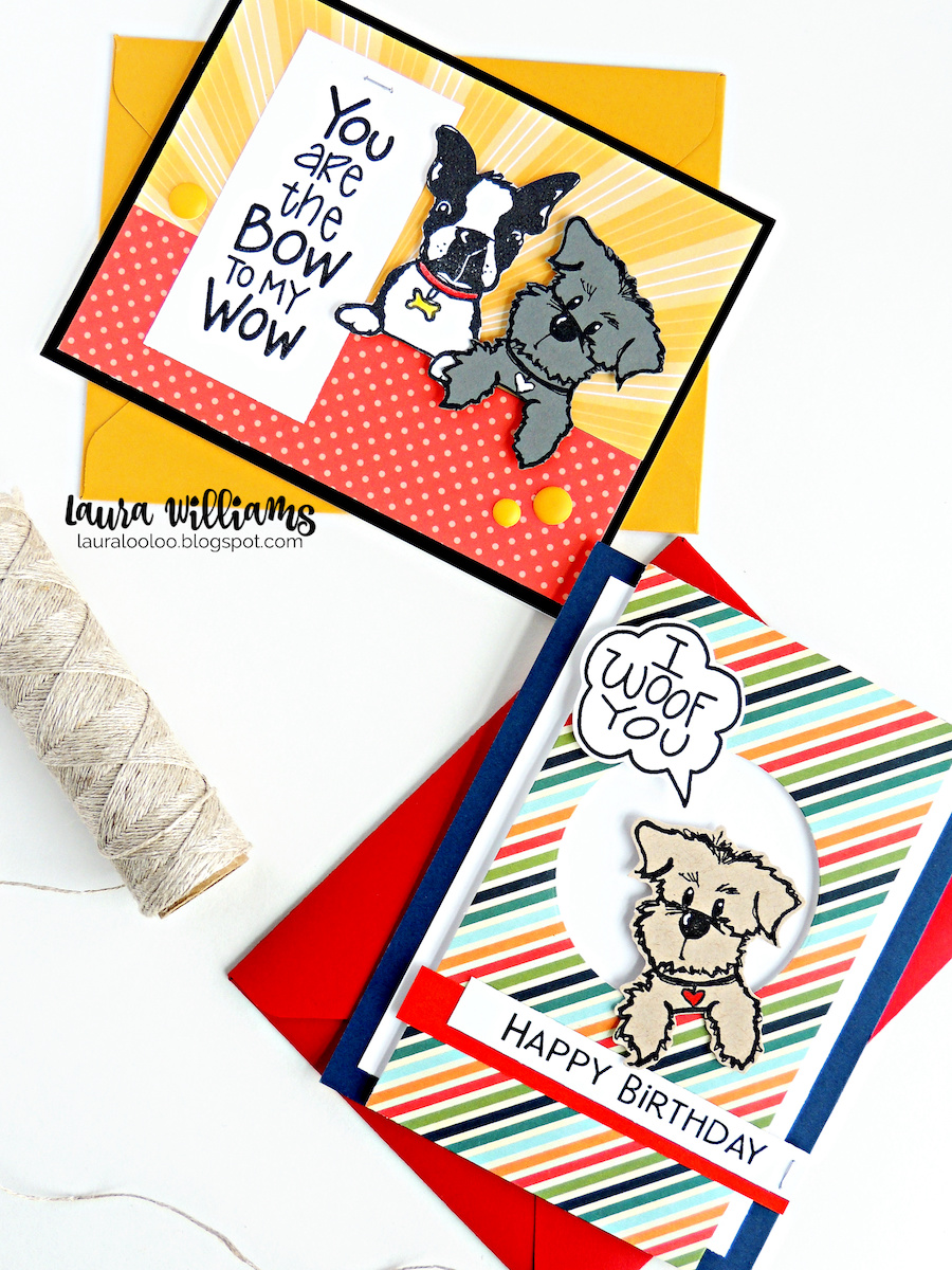 Make dog themed handmade cards and paper crafts with these adorable dog rubber stamps from Impression Obsession. You'll love mixing and matching the cute pooches with their silly sentiments like I Woof You, and You are the Bow to My Wow. These dog rubber stamps are perfect for handmade cards, scrapbook pages, and paper crafts. Visit my blog to see more ideas with these furry friends from Impression Obsession!