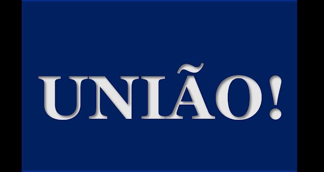 A imagem de fundo azul e caracteres em braco diz:união!