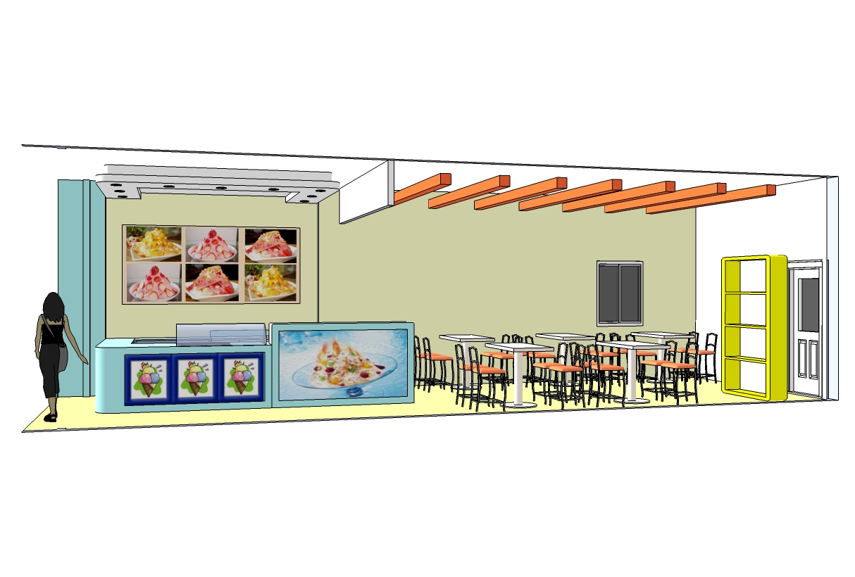 3d Image Design Concept Ice Cream Shop Style Casual Colorful Creation From Google Sketchup