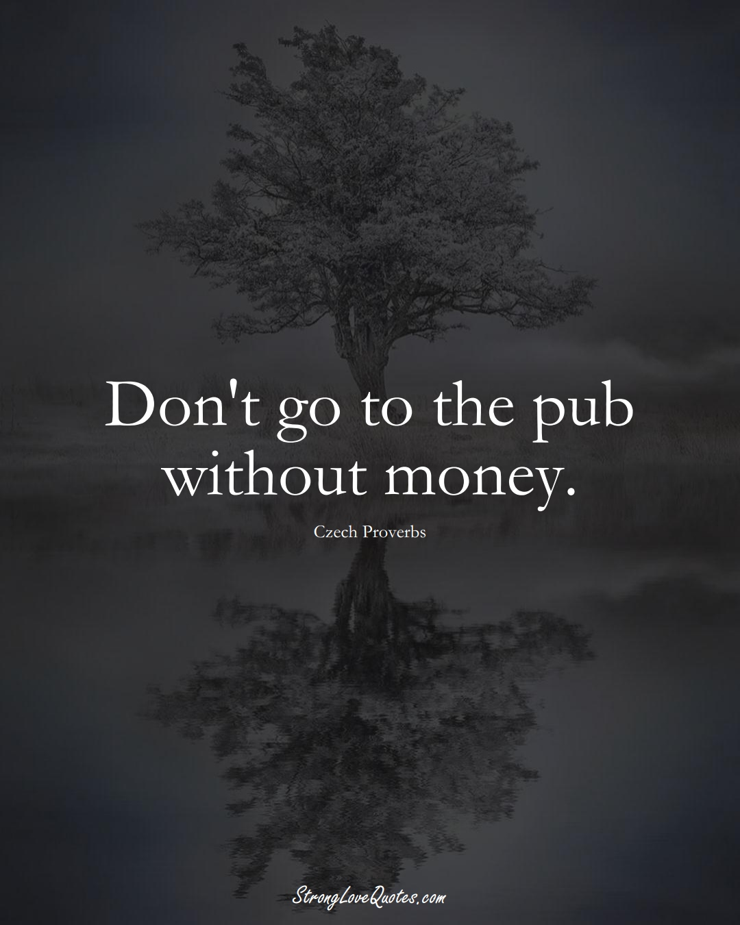 Don't go to the pub without money. (Czech Sayings);  #EuropeanSayings