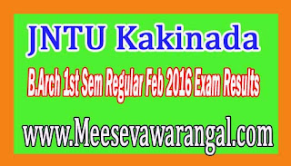 JNTU Kakinada B.Arch 1st Sem Regular Feb 2016 Exam Results
