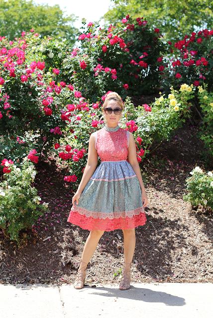 multi-color lace dress