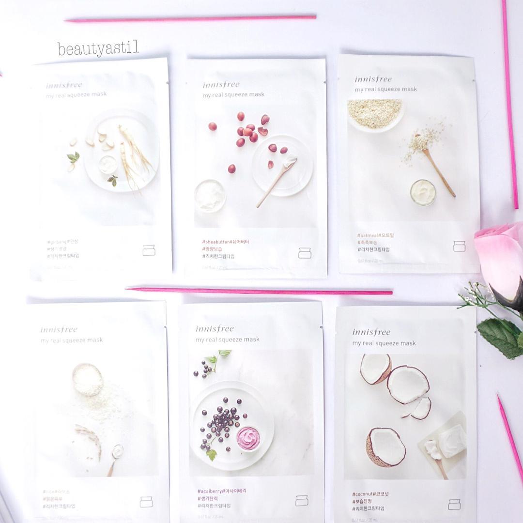 Innisfree My Real Squeeze Mask All Variants Review Beautyasti1 Its Masker Wajah Sheet Jika Kulit Sering Terkena Bahan Atau Kandungan Kimiawi Seperti Makeup Dan Lainnya Berishkan Dengan Memakai Rice Yang