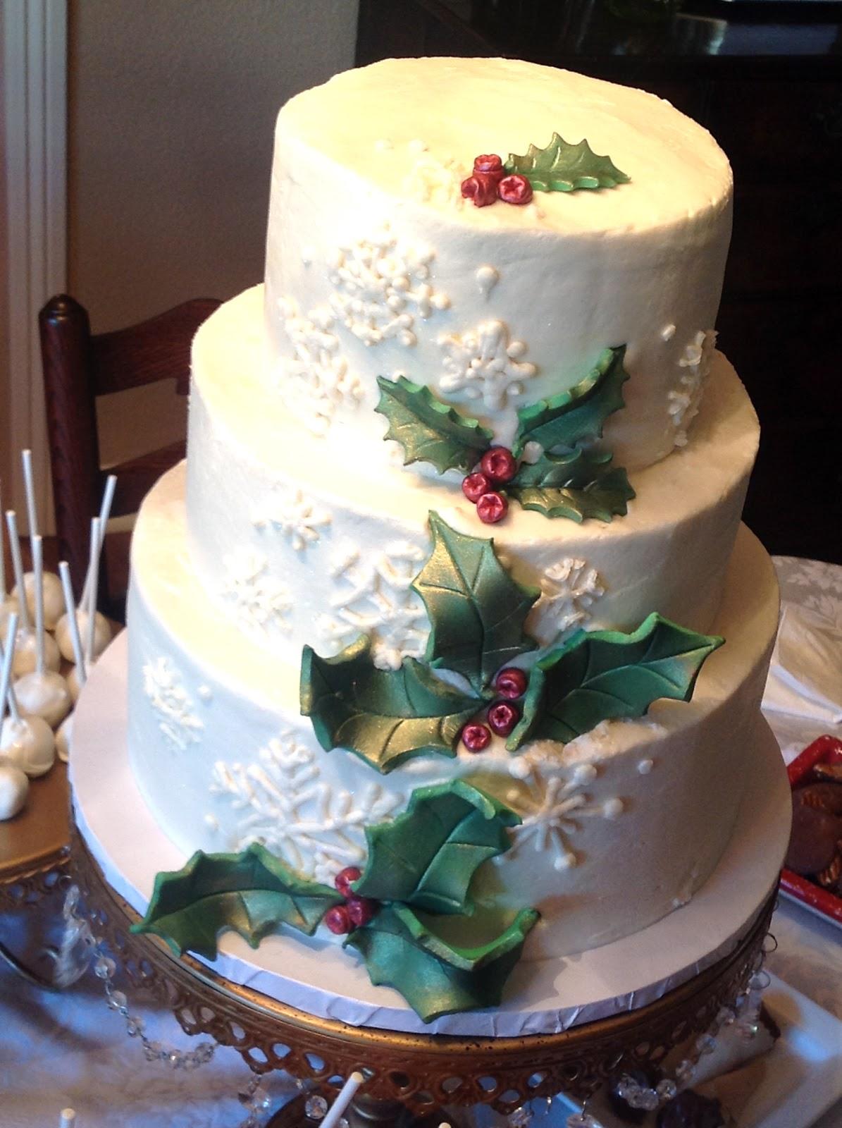 Plumeria Cake Studio: Winter Holly Wedding Cake  Plumeria Cake S...