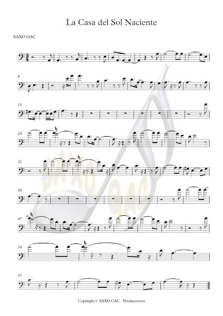 Partitura de La Casa del Sol Naciente para Instrumentos en Clave de Fa (Trombón, Chelo, Fagot, Bombardino, Tuba, Contrabajo...) Rising Sun Blues Sheet Music in Bass Clef (Trombone, Tuba, Cello, Euphonium, Baasson, Contrabass...)
