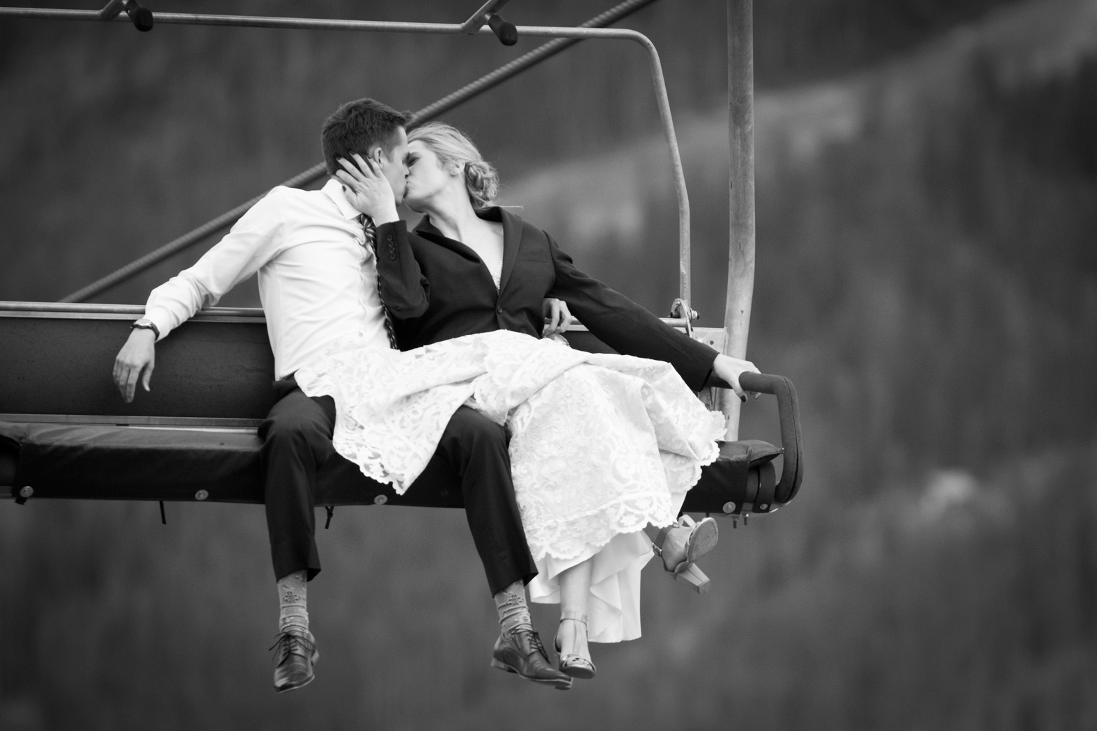 Chair Lift / Montana Wedding / Eye in the Sky Photography / Big Sky Resort