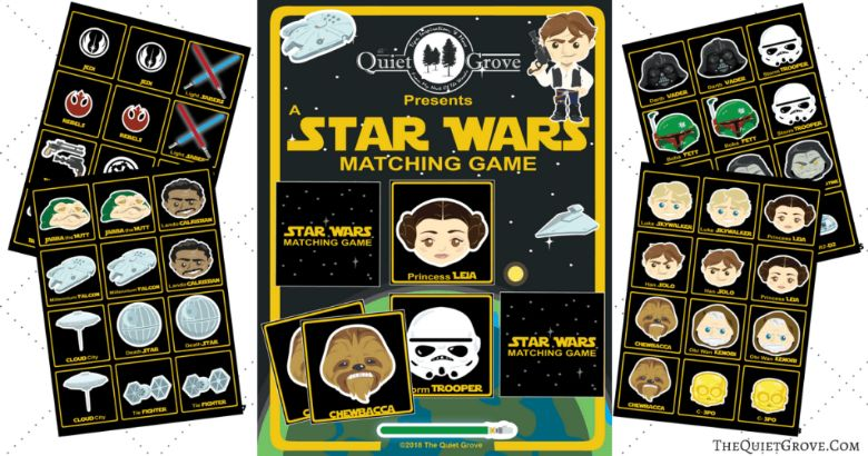 printable games for kids - star wars memory game