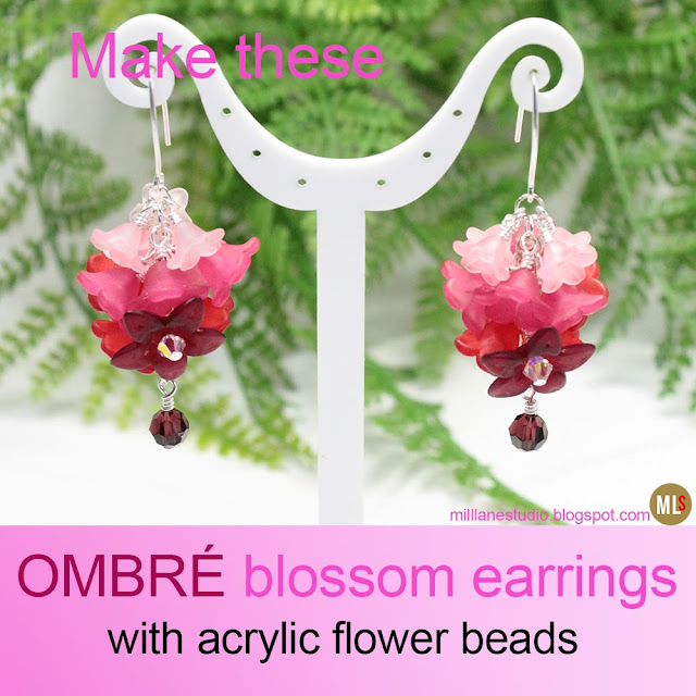 Pink ombré blossom earrings made with layers of acrylic flower beads