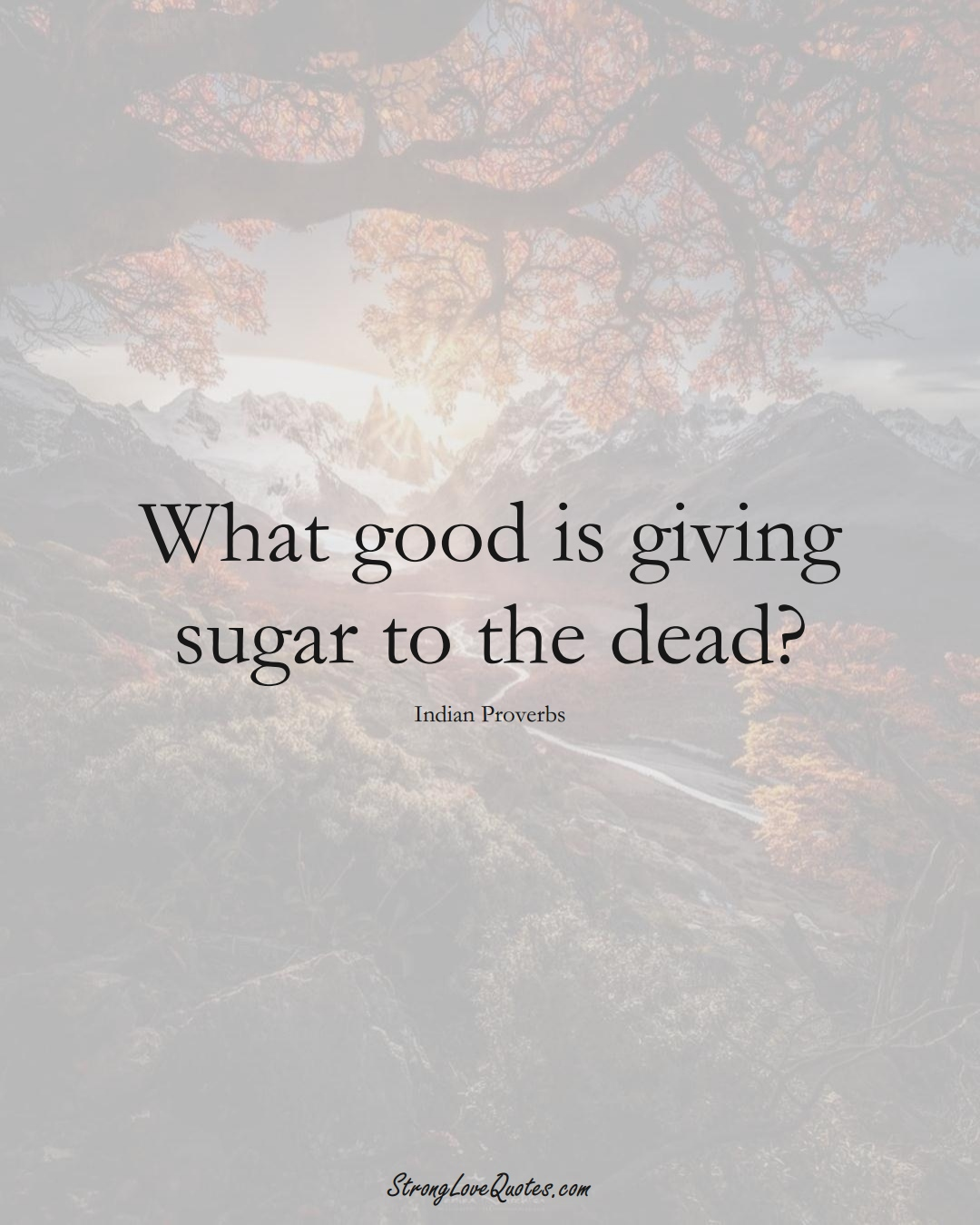 What good is giving sugar to the dead? (Indian Sayings);  #AsianSayings