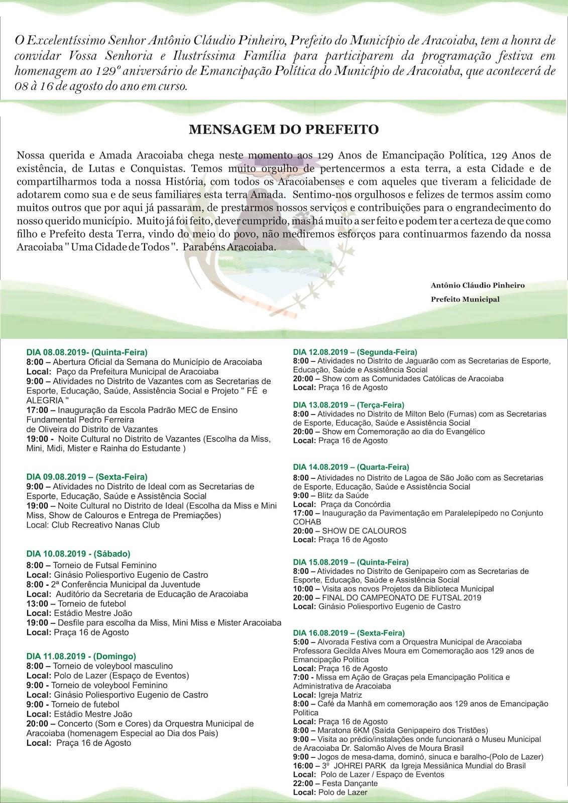 Festa dos 129 anos de emancipação Política de Aracoiaba tem