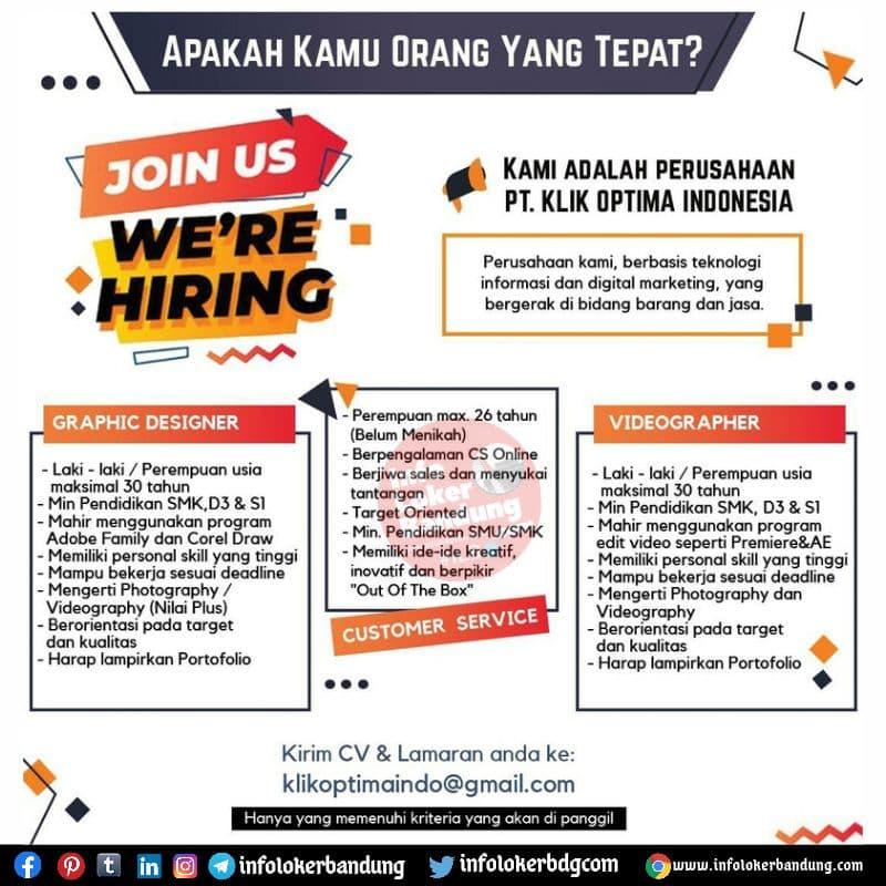 Lowongan Kerja PT. Klik Optima Indonesia Bandung Agustus 2021