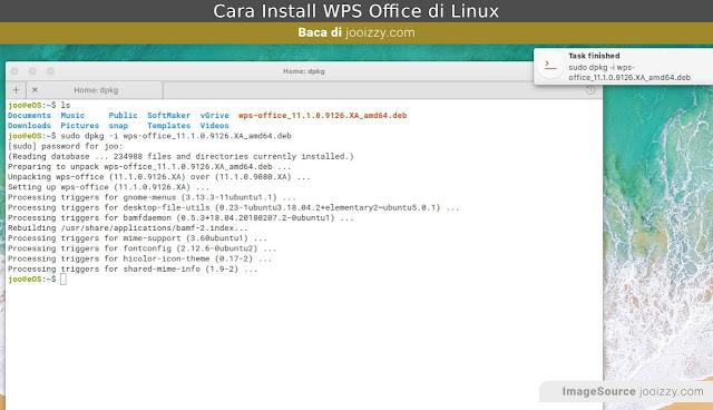Install WPS Office via Terminal Ubuntu Linux Selesai