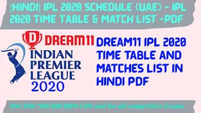 [Hindi] IPL 2020 Schedule (UAE) - IPL 2020 Time Table & Match List -PDF