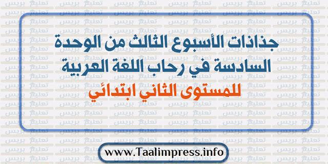 جذاذات الأسبوع الثالث من الوحدة السادسة في رحاب اللغة العربية للمستوى الثاني ابتدائي