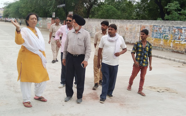 Legislative Border Trikha inspected the road under construction between the Metro Chowk and ESIC Chowk