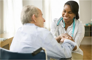 An aged patient consulting a Doctor