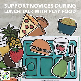 Activities with Printable Play Food Lunch Talk Spanish French English