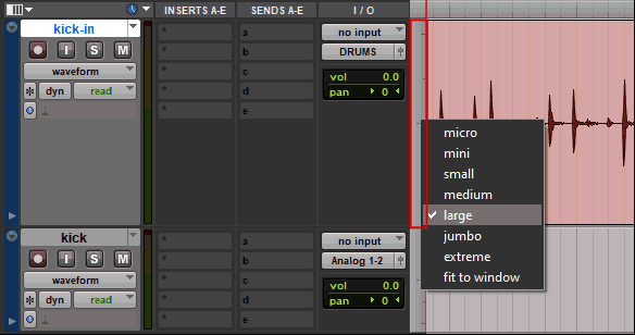 Change the track size in Avid Pro Tools