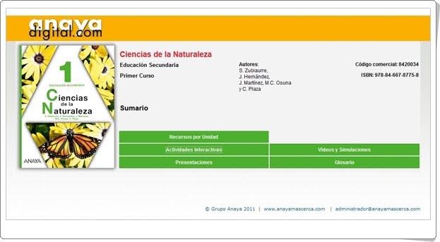 "Anaya Digital: ""Ciencias de la Naturaleza de 1º de E.S.O."""