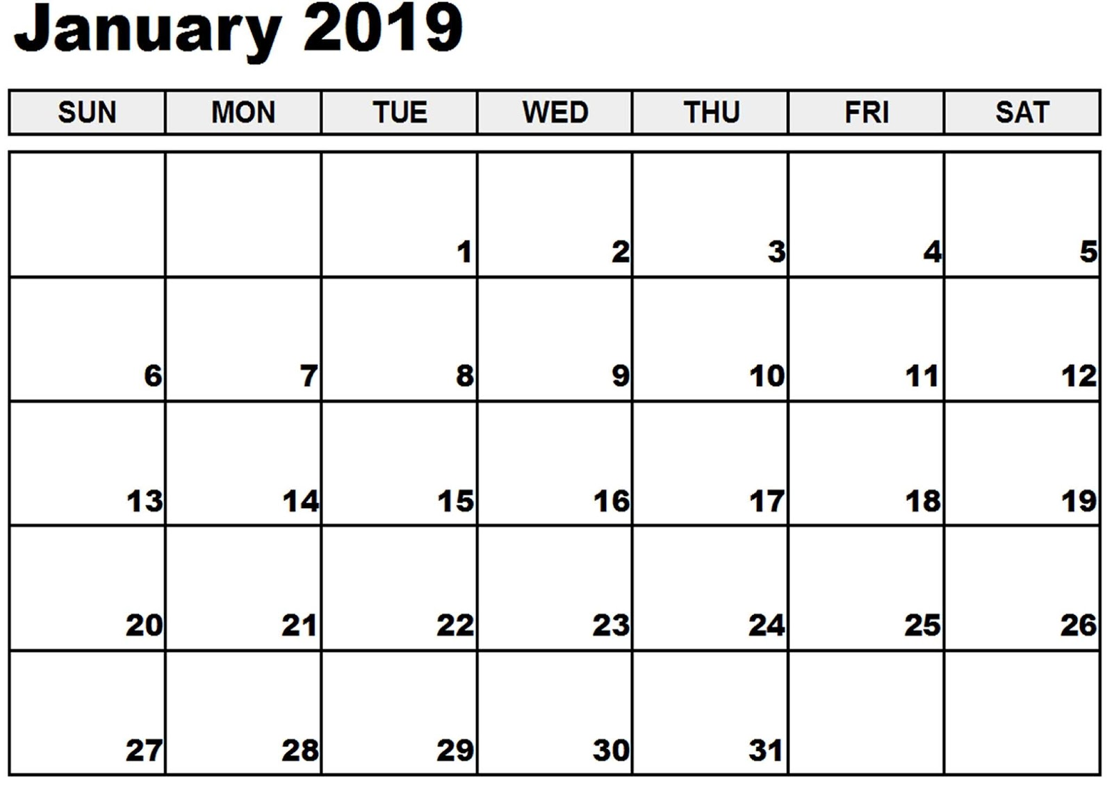 January 2019 Free Calendar With Holidays