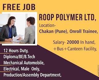 ITI/ Diploma/ BE /B.Tech Job Vacancy in Roop Polymers Ltd reputed MNC company at Chakan, Pune