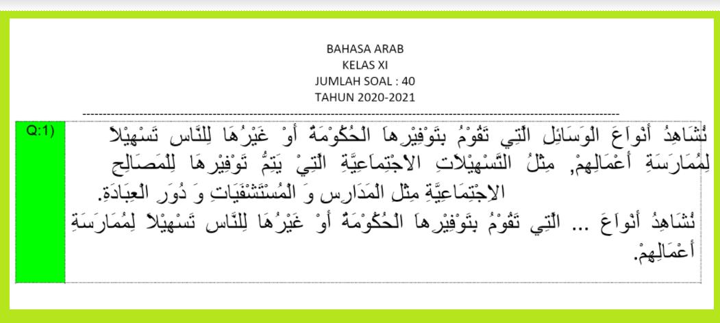 gambar soal pat bahasa arab kelas 11 semester 2
