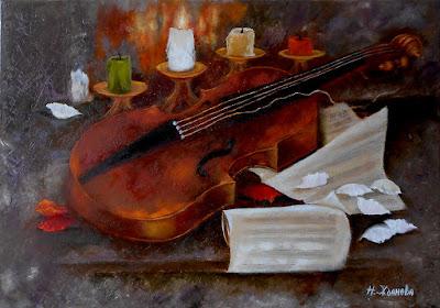 Натюрморт с скрипкой Пока горит свеча..