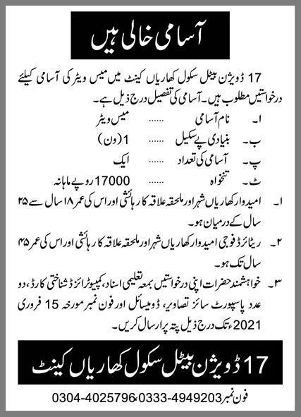 17 Division Battle School Kharian Cantt Job 2021 Advertisement