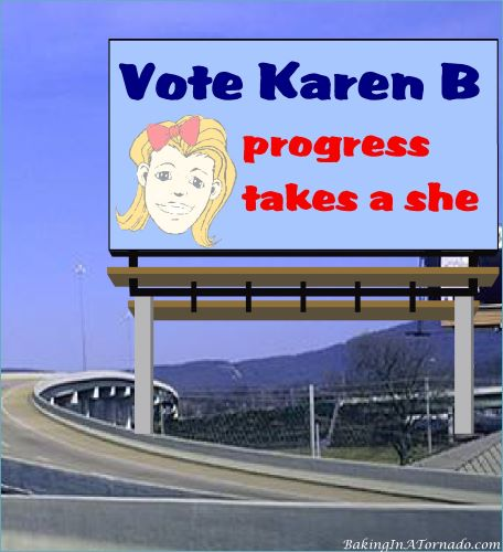 Vote Karen B, progress takes a she | graphic created by and property of www.BakingInATornado.com | #MyGraphics