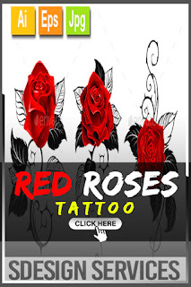 Three Red Roses for Tattoo - Three artistically painted red roses with black spiny