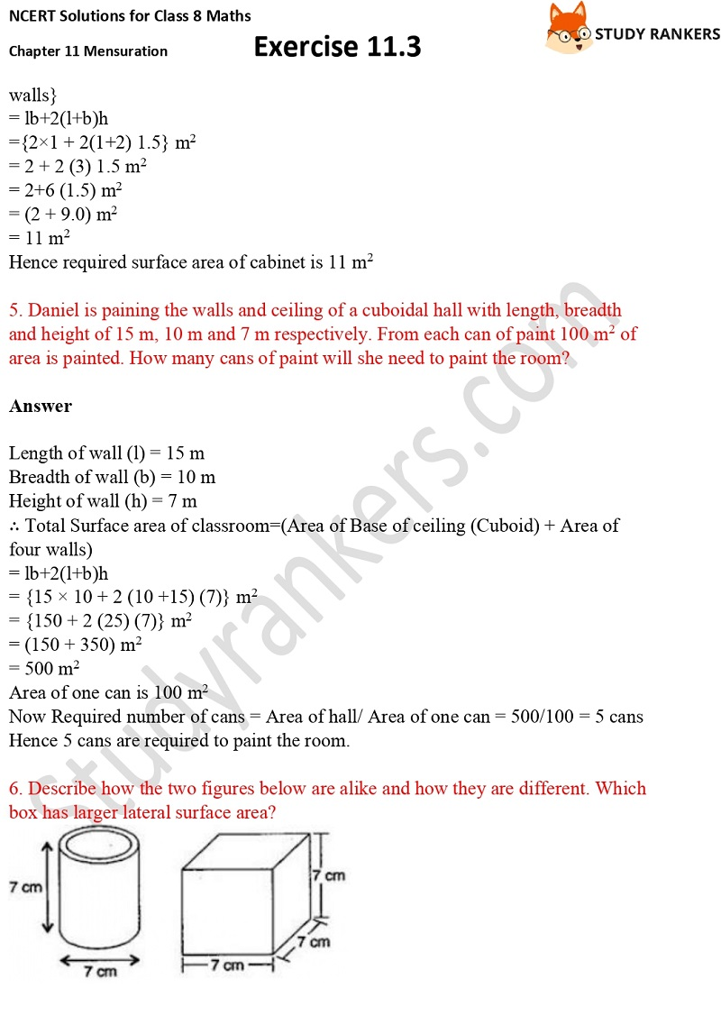 NCERT Solutions for Class 8 Maths Ch 11 Mensuration Exercise 11.3 3