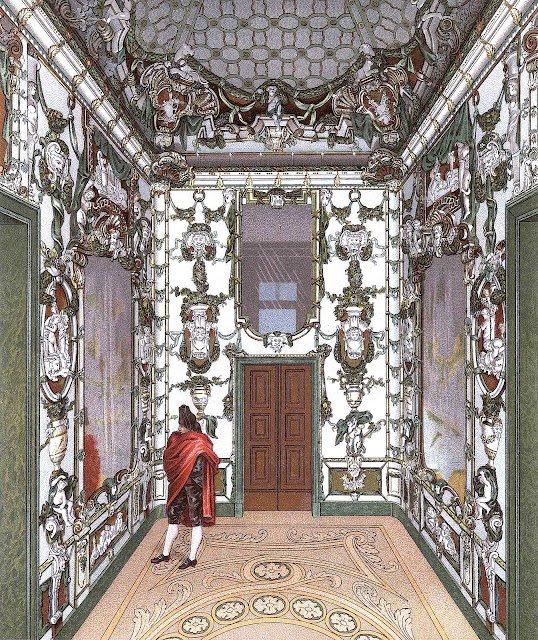An illustration of 1700s Spain, opposite mirrors create a visual infinity