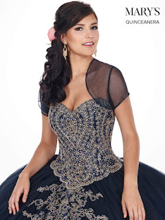 Midnight blue/gold Ball Gown Dress Front Design