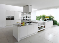 Modern All White Kitchen Interior White Floor Design