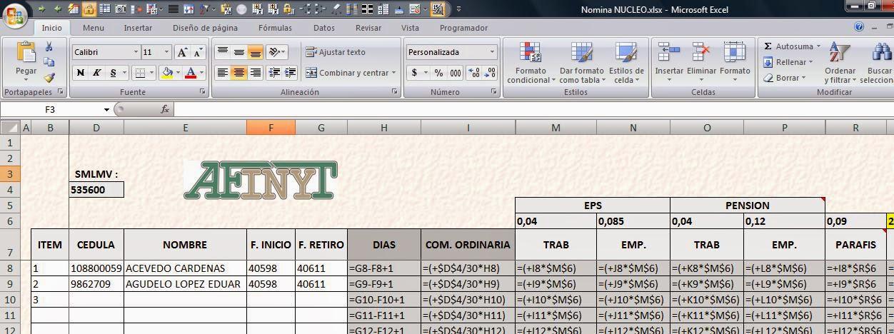 Nomina Automatica En Excel
