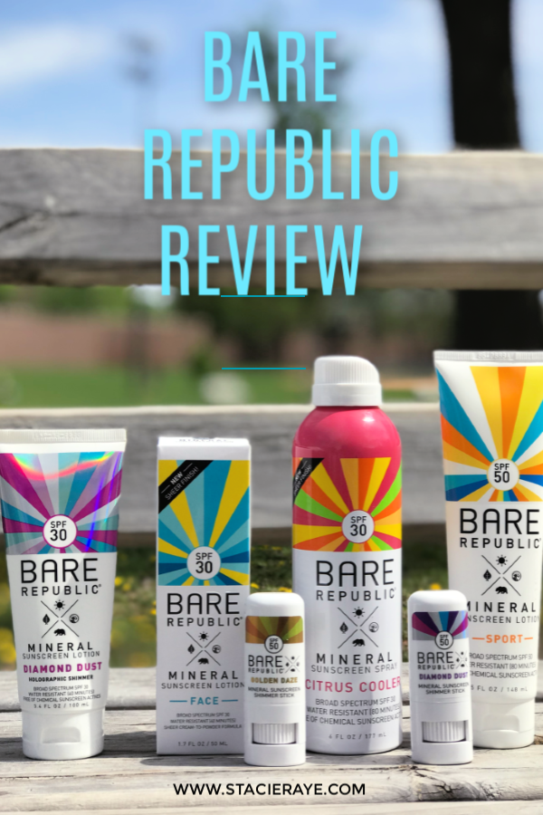 bare republic sunscreen on a park bench